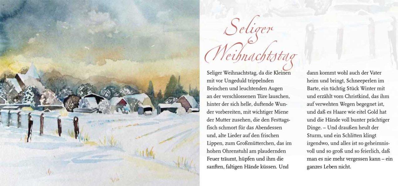 """Seeliger Weihnachtstag – Rainer Maria Rilke mit dem Aquarell """"Schneewolken über Sanitz"""" von Frank Koebsch"""