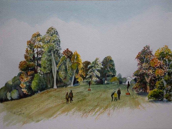 Spaziergänger im herbstlichen Schlosspark von Putbus (c) Aquarell von Frank Koebsch