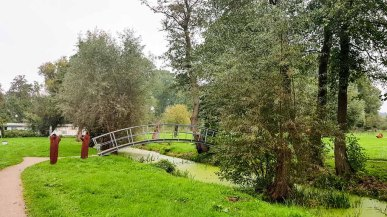 Weiden und Brücke im Park hinter dem Kunstmuseum Schwaan (c) Frank Koebsch