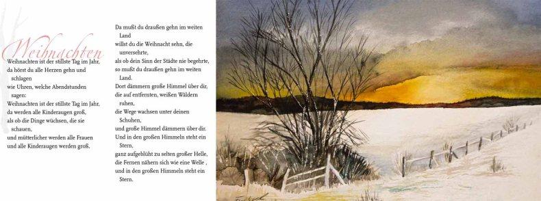 """Weihnachten – Rainer Maria Rilke mit dem Aquarell """"Winterabend"""" von Frank Koebsch"""
