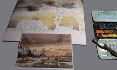 """Anleihen aus dem Bild """"Winterlandschaft mit Eisläufern"""" von Carl Malchin für mein Winteraquarell © Frank Koebsch"""