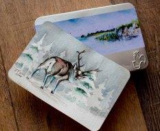 "Aquarell ""Rudolph das Rentier"" auf einer Hahnemühle Aquarellpostkarte"