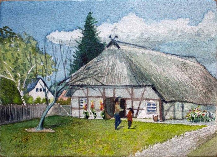 Bauernhaus Klockenhagen (c) Aquarell auf einem Zigarrenkistenbrett von FRank Koebsch