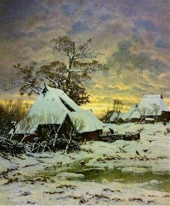 Carl Malchin – Winter (Mecklenburgisches Dorf) – 1907 © Staatliche Schlösser, Gärten und Kunstsammlungen Mecklenburg-Vorpommern