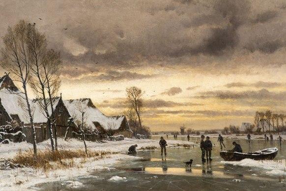 Carl Malchin - Winterlandschaft mit Eisläufern - um 1890