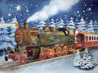 Der Weihnachtsmann Espress (c) Aquarell von Frank Koebsch