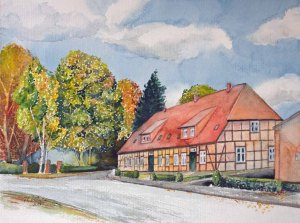 Die alte Schule in Sanitz (c) Aquarell mit einem Fachwerkhaus von Frank Koebsch