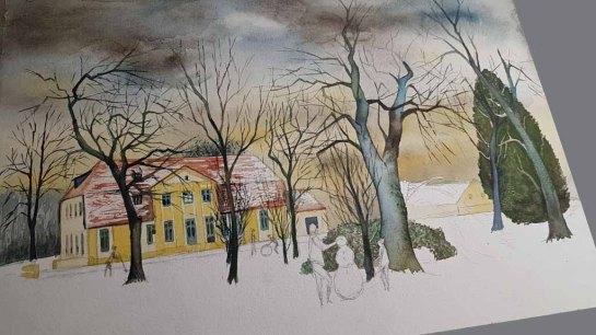 """Die Farbtöne in den Bäumen und der stimmungsvolle Himmel sorgen für die passende Stimmung in meinem Winteraquarell """"Schneemann bauen im Park"""" © Frank Koebsch"""