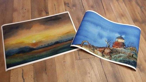 Drucke auf Hahnemühle Papier Albrecht Dürer von den Aquarelle - Abend am Darßer Ort und Sonnenuntergang im Herbst – im Format 40 x 75 cm © Frank Koebsch