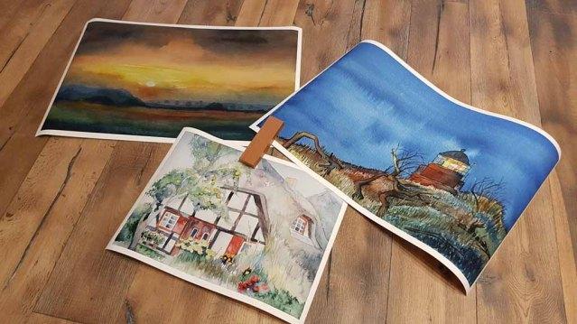 Drucke auf Hahnemühle Papier Albrecht Dürer von den Aquarellen – Inselgarten, Abend am Darßer Ort und Sonnenuntergang im Herbst © Frank Koebsch
