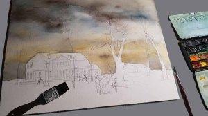 """Ein stimmungsvoller Himmel für mein Winteraquarell """"Schneemann bauen im Park"""" © Frank Koebsch"""