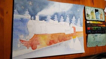 Erste Grundierung für das Aquarell - Weihnachtsmann Express (c) FRank Koebsch