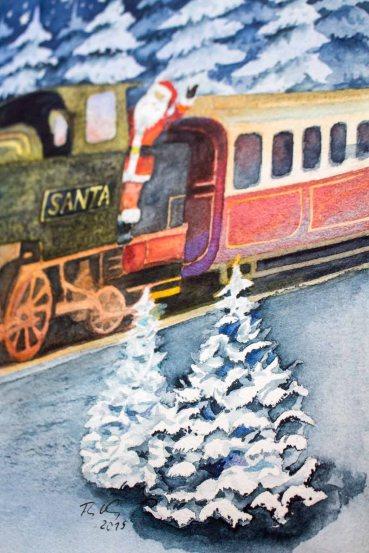 Kleine Tannen im Vordergrund als Details im Aquarell – Weihnachtsmann Express - gestaltet © Frank Koebsch