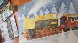 Mit Lasuren von granulierenden Farben entstehen die Details der Dampflokomotive im Aquarell – Weihnachtsmann Express © Frank Koebsch (1)
