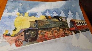 Mit Lasuren von granulierenden Farben entstehen die Details der Dampflokomotive im Aquarell – Weihnachtsmann Express © Frank Koebsch (2)