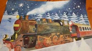 Mit Lasuren werden die Tannen im Hintergrund des Aquarells – Weihnachtsmann Express - gestaltet © Frank Koebsch