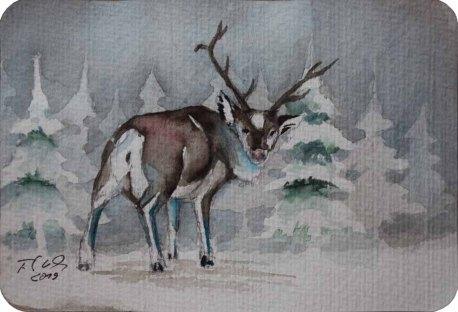 Rudolph das Rentier (c) Miniatur in Aquarell von Frank Koebsch