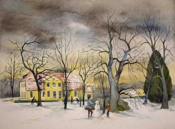 Schneemann bauen im Park (c) Aquarell von Frank Koebsch