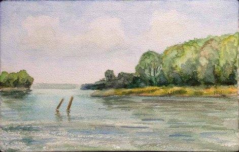 Schweriner See (c) Aquarell von Wolfgang Bergt auf einem Zigarrenkistenbrett
