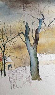 """Spiel von kalten Farbtönen in den Bäumen für mein Winteraquarell """"Schneemann bauen im Park"""" © Frank Koebsch"""