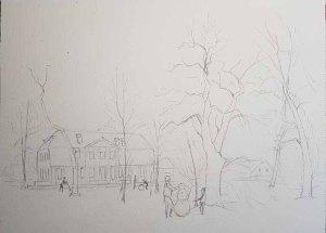 Vorzeichnung für mein Aquarell - Schneemann bauen im Park (c) Frank Koebsch