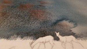 Farbspiel des granulierenden Farbe - Nass in Nass - im Hintergrund für das Aquarell - Abends bei den Rehen im Winterwald (c) Frank Koebsch