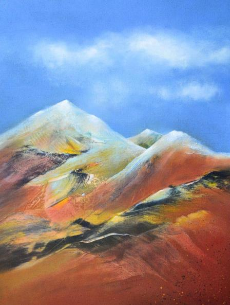 Abstrakte Landschaft 26, Hinrich JW Schüler-2015, 160 cm x 120 cm, Acryl auf Jute