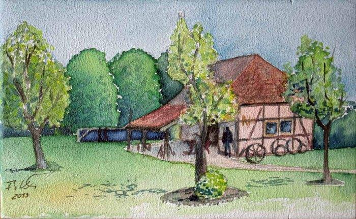 Alte Schmiede in Schwerin Mueß (c) Aquarell auf einem ZIgarrenkistenbrett von Frank Koebsch