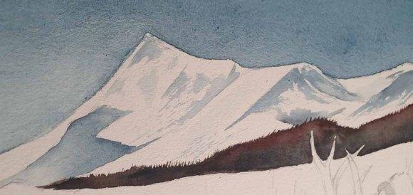 Berge der Sami - Ausschnitt aus dem Aquarell - Sami mit ihren Rentieren im norwegischen Winter (c) Frank Koebsch