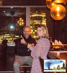 Nicola Schneider - Wilde & Partner Communications GmbH und Ulrich Langer – TFK GmbH Kühlungsborn in der Puro Sky Lounge im Europa-Center Berlin © Koebsch