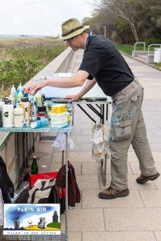 Plein Air Festival – Malen an der Ostsee - Hinrich JW Schüler malt auf der Promenade Von Kühlungsborn © Frank Koebsch (2)