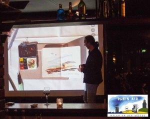 Präsentation von Jens Hübner zum Plein Air Festival – Malen an der Ostsee in der Puro Sky Lounge im Europa-Center Berlin © Frank Koebsch (4)