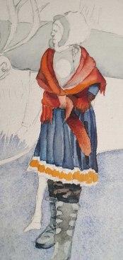 Sami in ihrer Tracht - Ausschnitt aus dem Aquarell - Sami mit ihren Rentieren im norwegischen Winter (c) Frank Koebsch (1)
