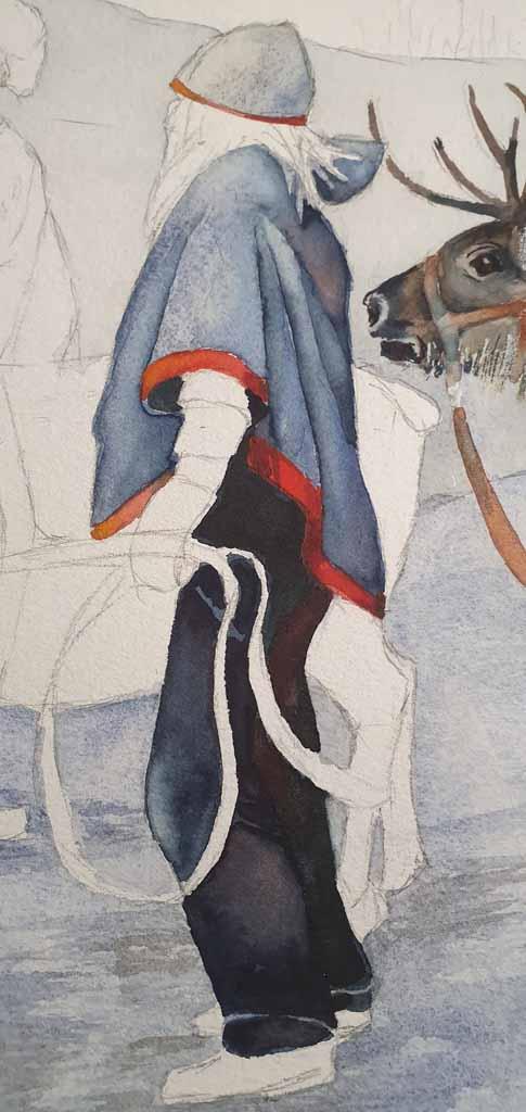 Sami in ihrer Tracht - Ausschnitt aus dem Aquarell - Sami mit ihren Rentieren im norwegischen Winter (c) Frank Koebsch (2)