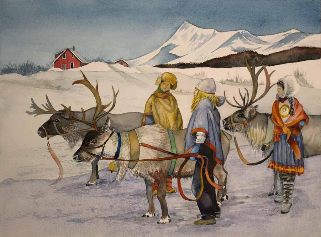 Sámi mit ihren Rentieren im norwegischen Winter © Aquarell von Frank Koebsch