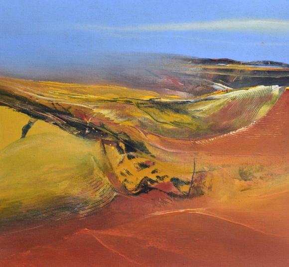"""y Hinrich JW Schüler """"Abstrakte Landschaft 1-2013"""", Acryl auf Jute, 120 cm x 130 cm"""
