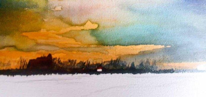 Ein Aquarell auf einem Zigarrenkistenbrett entsteht – Am Horizont entstehen die Bäume und die Silhouette der Kirche und Häuser © Frank Koebsch - Schritt 6