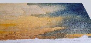 Ein Aquarell auf einem Zigarrenkistenbrett entsteht – blaue Lasuren für etwas Dramatik im Himmel © Frank Koebsch - Schritt 3