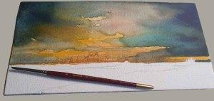 Ein Aquarell auf einem Zigarrenkistenbrett entsteht – Das Spiel der Farben im Abendhimmel © Frank Koebsch - Schritt 5
