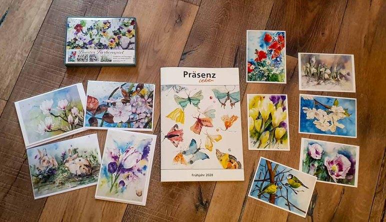 Faltkarten mit Umschlag und Postkaten mit Aquarellen von Hanka & Frank Koebsch im Frühjahrsprogramm des Präsenz Verlages