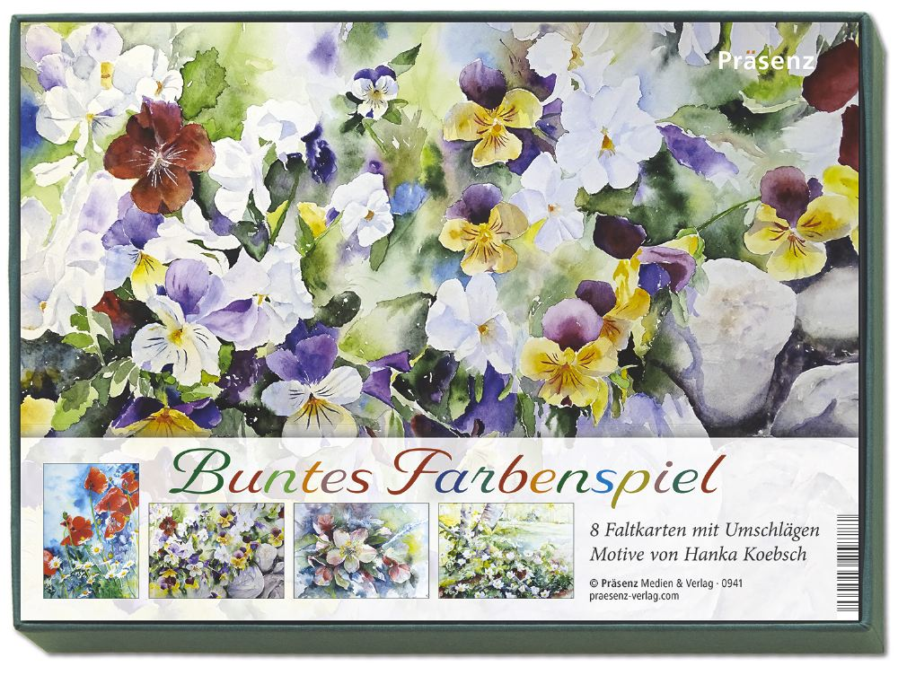 Greschenkbox Buntes Farbenspiel - 8 Faltkarten mit Umschlägen - Motive von Blumenaquarelle von Hanka Koebsch