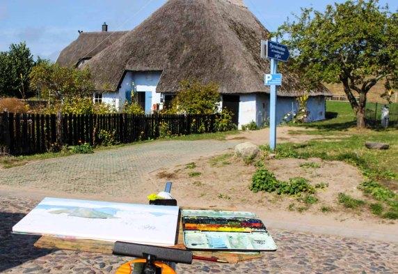 Malreise Rügen - Wir malen das Pfarrwitwenhaus in Groß Zicker (c) Frank Koebsch (2)