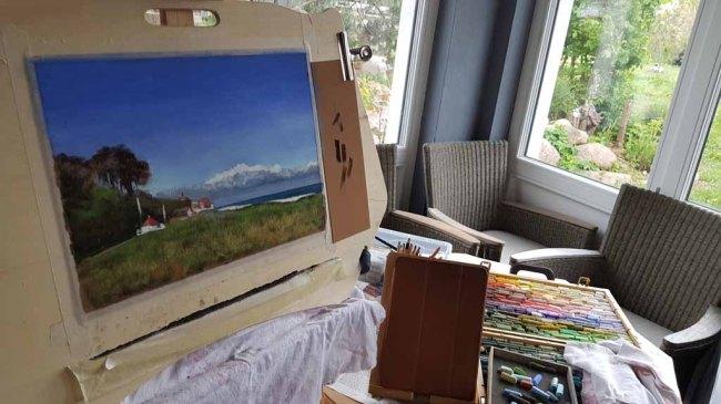 Plein Air Festival Kühlungsborn – Pastellmalerei von Susanne Mull in der Alten Büdnerei © Frank Koebsch