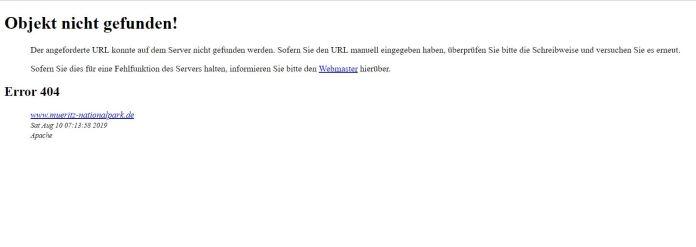 404 - Objekt nicht gefunden