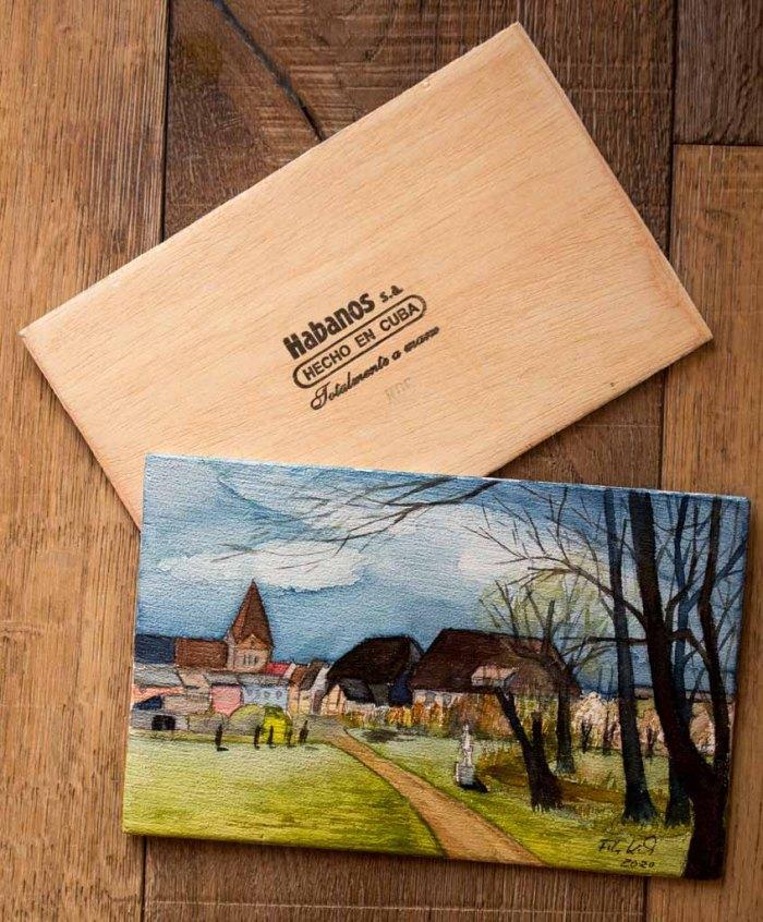 Aquarell - Frühling in Schwaan - auf einem Zigarrenkistenbrett (c) Frank Koebsch