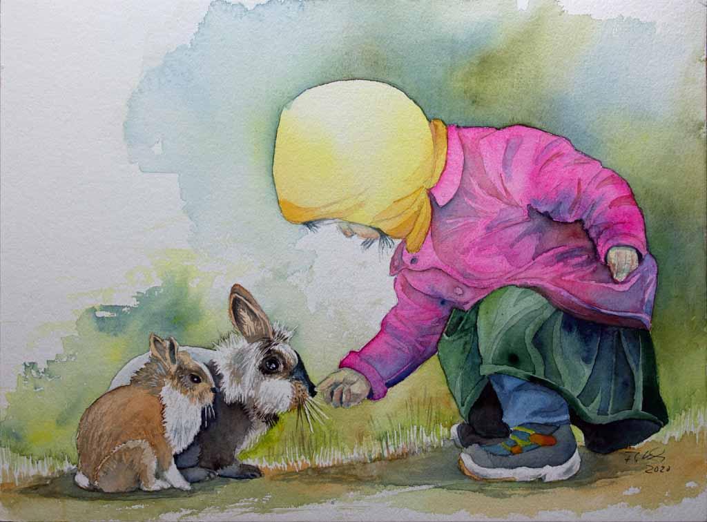 Auf der Suche nach dem Osterhasen (c) Aquarell von FRank Koebsch
