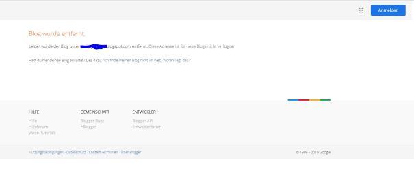 Blog wurde entfertnt