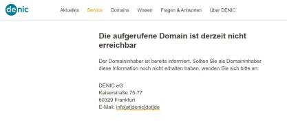 denic - Die auf gerufene Seite ist derzeit nicht erreichbar