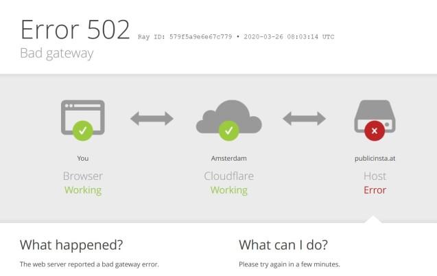 Error 502 - Bad gateway