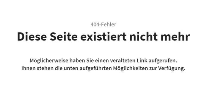 Fehler 404 - Diese Seite existiert nicht mehr